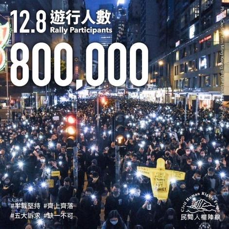 홍콩 야권 단체 연합 민간인권진선은 8일 홍콩섬에서 진행된 집회와 행진에 80만 명이 참여했다고 밝혔다. /민간인권진선