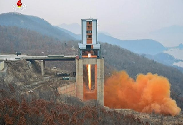 2017년 3월 신형 고출력 로켓엔진 지상분출시험 당시 동창리 서해위성발사장 모습. /연합뉴스