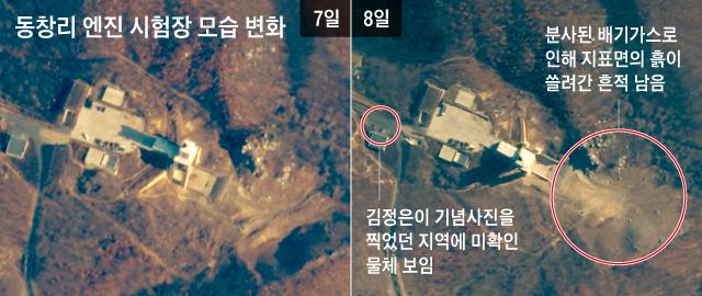 상업용 민간 위성 플래닛랩스에 포착된 동창리 미사일 발사장의 7~8일 모습. 엔진 추력 시험 이후인 8일(오른쪽 사진) 엔진 시험대 아래 지표면의 흙이 쓸려간 모습이 관측됐다.