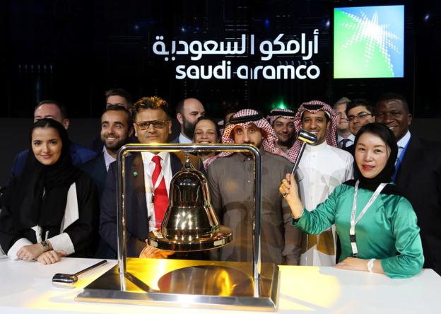 11일 사우디아라비아 타다울 증권거래소에서 열린 아람코 IPO 기념행사의 모습. /로이터 통신