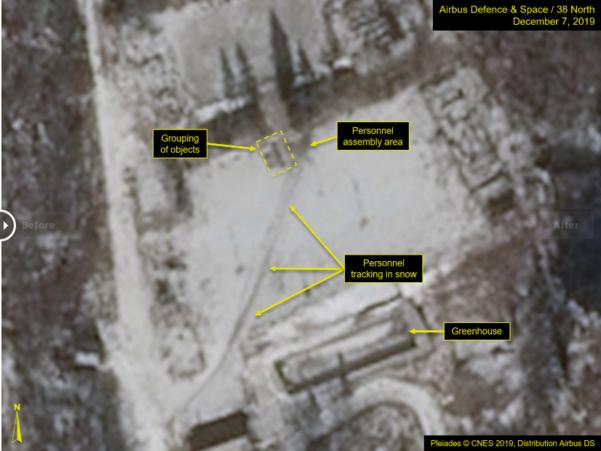 북한 풍계리 핵실험장에서 차량이 지나간 흔적(사진 가운데 대각선으로 가로지른 선)이 포착됐다고 38노스가 11일(현지시각) 밝혔다./38노스