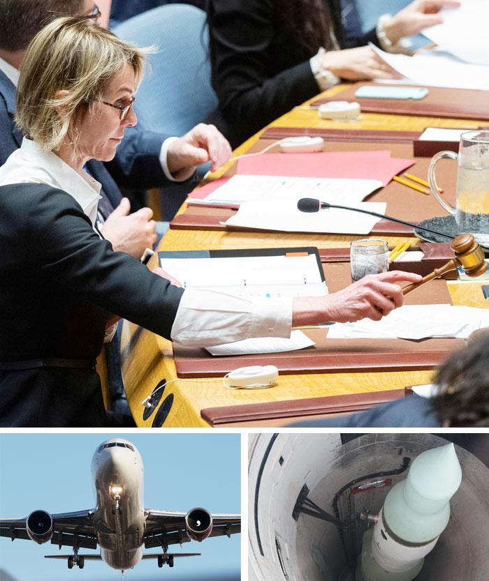 켈리 크래프트 유엔 주재 미국 대사가 11일(현지 시각) 미국 뉴욕 유엔본부에서 유엔 안보리 회의를 주재하고 있다(맨 위).