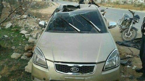 R9X 공격으로 사망한 아부 알카이르 알마스리가 사망 당시 타고 있던 차량이라며 소셜미디어에 유포된 사진./헨리잭슨소사이어티 소속 카일 오튼 연구원 소셜미디어 캡처, 연합뉴스