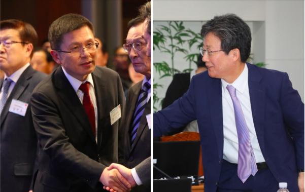 황교안 자유한국당 대표(왼쪽)과 새로운보수당 유승민 의원/연합뉴스