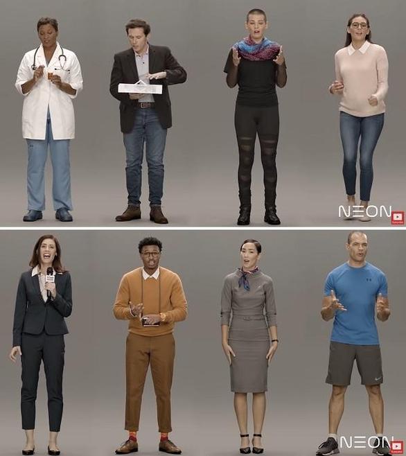 삼성전자가 개발한 아바타 배우 7명과 '진짜 사람' 1명./굿콘텐트 캡처