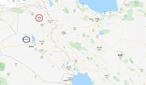 이란이 미사일로 공격한 이라크의 아르빌(빨간 원)과 알 아사드(파란원). 아르빌은 이란 국경에서 110km 가량, 알 아사드는 300km 가량 거리에 있다. /구글 지도