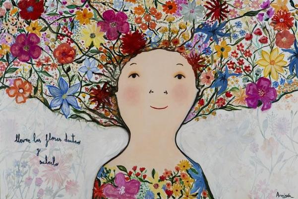 가장 많이 알려진 에바 알머슨의 작품 '활짝 핀 꽃'.
