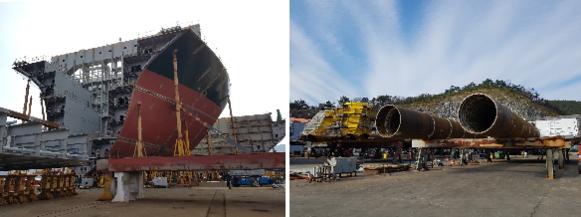 삼강엠앤티가 만들고 있는 대형 선박 블록(왼쪽)과 후육강관 모습(오른쪽). /삼강엠앤티 제공