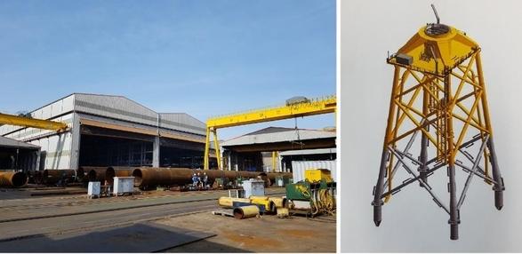 해상풍력 발전기 하부구조물에 들어가는 후육강관이 한 줄로 길게 늘어선 모습(왼쪽)과 해상풍력 발전기 하부구조물 3D 조감도(오른쪽). /삼강엠앤티 제공