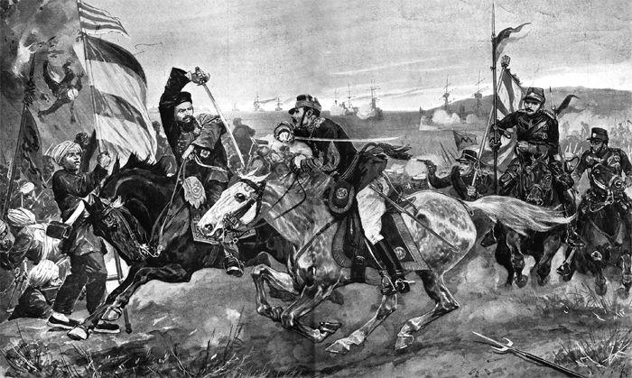 영국 '일러스트레이티드 런던 뉴스' 1894년 11월 24일 자. 청일 양군 전투 장면 삽화에 '9월 16일 일본군이 조선 평양성을 함락했다'는 제목을 달았다.
