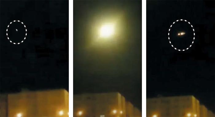 8일(현지 시각) 이란 상공에서 추락한 우크라이나 여객기가 격추되는 장면으로 추정되는 영상 캡처. 이란군의 지대공 미사일로 보이는 하얀 점이 빠르게 날아가(왼쪽) 섬광을 일으킨 뒤(가운데) 불이 붙은 여객기로 보이는 불빛이 천천히 움직이고 있다(오른쪽).