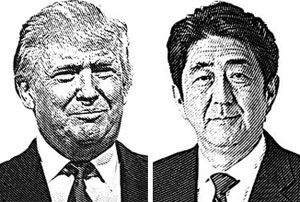 도널드 트럼프 미 대통령(왼쪽), 아베 신조 일본 총리