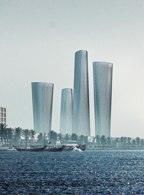 현대건설이 수주한 카타르 루사일 오피스 조감도. 맨 왼쪽이 플롯3, 왼쪽에서 세번째가 플롯4. /현대건설 제공