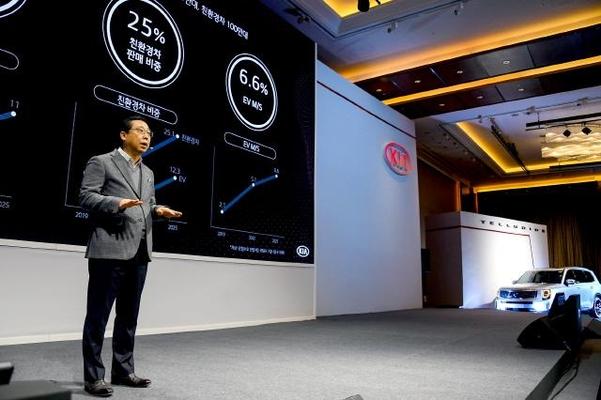 박한우 기아차 사장이 14일 콘래드서울 호텔에서 가진 'CEO 인베스터 데이'에서 미래 투자계획에 대해 설명하고 있다./기아차 제공