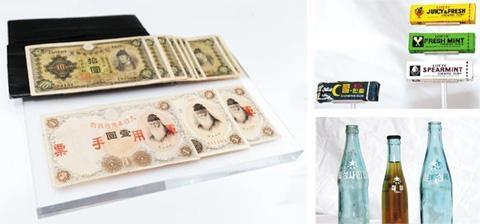 신격호 회장이 1942년 일본으로 유학을 갈 때 가져간 83엔, 롯데제과 최초의 껌과 지금도 나오는 껌들, 롯데칠성사이다의 옛날 병들(왼쪽부터 시계 방향으로). /롯데그룹 제공