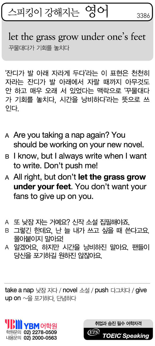 [스피킹이 강해지는 영어] let the grass grow under one's feet