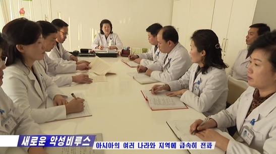 보건성 관계자들의 회의 모습. /조선중앙TV 캡처