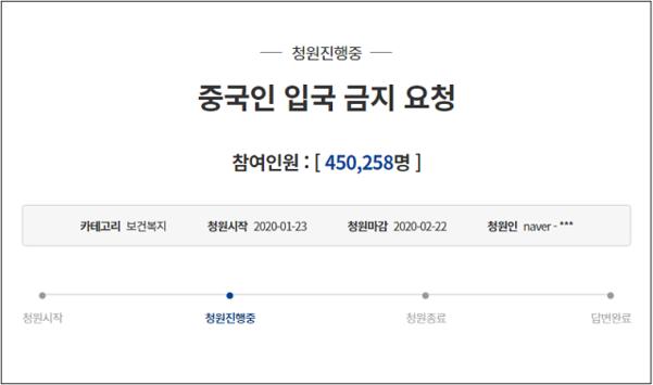 중국 국민들의 국내 입국을 막아달라는 국민청원./청와대 홈페이지 캡처