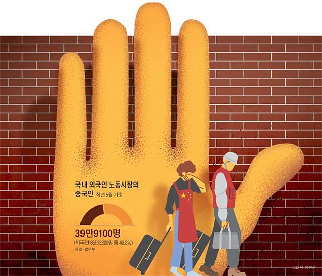국내 외국인 노동시장의 중국인 그래프