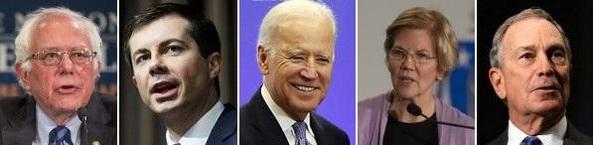 미 민주당 대선 경선후보인 버니 샌더스(왼쪽에서 첫번째), 피트 부티지지(왼쪽에서 두번째), 조 바이든(가운데), 엘리자베스 워런(오른쪽에서 두번째), 마이클 블룸버그(맨 오른쪽). / 각 후보 캠프