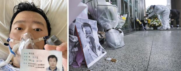 7일 중국 후베이성 우한시중신병원 주변에 마련된 중국 의사 리원량의 임시 추모소에 리씨의 사진과 꽃다발, 담배가 놓여 있다(오른쪽 사진). 우한시중신병원 의사인 리씨는 신종 코로나 바이러스 감염증(우한 폐렴) 발생을 미리 경고했다가 유언비어 유포 혐의로 경찰 조사를 받았고, 지난달 감염자를 진료하다 자신도 우한 폐렴에 걸려 7일 결국 사망했다. 그의 사망 소식이 알려지자 중국 인터넷에서는 '시대의 영웅'이라는 등의 추모 글이 이어졌다. 왼쪽 사진은 리씨가 우한 폐렴에 걸려 병상에 누워 있는 모습. /리원량 웨이보·EPA 연합뉴스