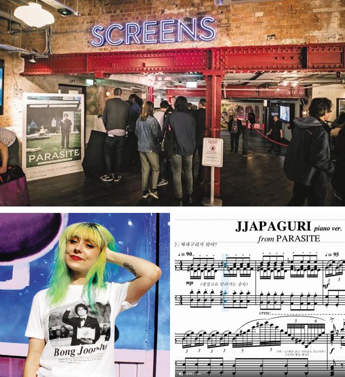 지난 9일(현지 시각) 영국 런던 한 극장에 '기생충'을 보러 들어가는 관객들(큰 사진). 해외 관객들은 이제 영화에 등장하는 우리말을 그대로 읽고 쓰기 시작했다. '봉준호(Bong Joon ho)'라고 적은 티셔츠를 파는 곳도 생겼고(아래 왼쪽), '짜파구리'를 'Jjapaguri'라고 쓰는 일(아래 오른쪽)도 많아졌다.