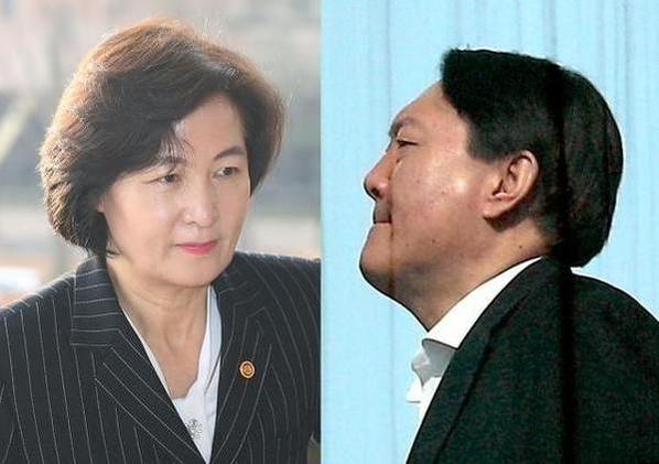 추미애(왼쪽) 법무장관과 윤석열 검찰총장. /연합뉴스