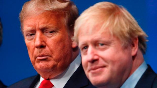 도널드 트럼프(왼쪽) 미국 대통령과 보리스 존슨 영국 총리. 영국의 화웨이 5G 장비 도입 결정을 앞두고 미국과 영국 사이에 미묘한 기류 변화가 감지되고 있다. /트위터 캡처
