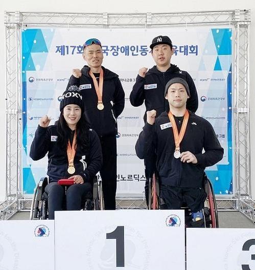 사진: (왼쪽 위부터 시계방향으로) 신의현 선수, 유기원 코치, 원유민 선수, 서보라미 선수