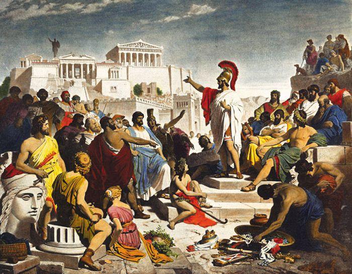 민회가 열리는 프닉스 언덕에서 페리클레스가 아테네 시민들에게 재건된 아크로폴리스를 가리키며 연설하는 상상화. 그는 시민들에게 스스로의 업적에 자부심을 갖고, 연인을 대하듯 아테네를 사랑하라고 했다.