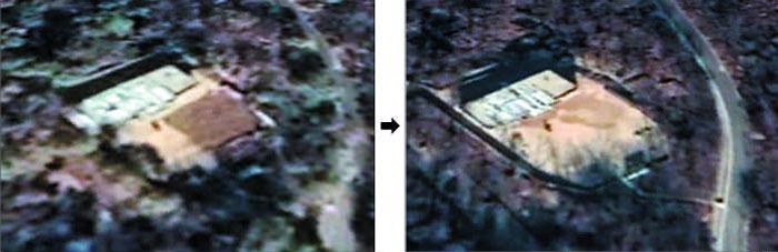 작년 11월 1일(왼쪽 사진)과 28일(오른쪽 사진) 포착된 북한 동창리 미사일기지 내 연구동.