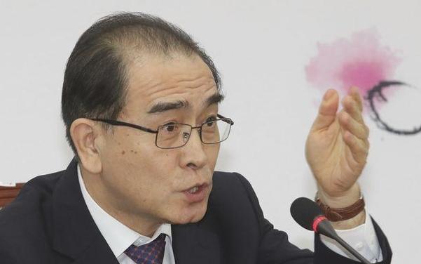태영호 전 영국 주재 북한공사가 지난 16일 오후 국회에서 기자간담회를 갖고 있다./연합뉴스