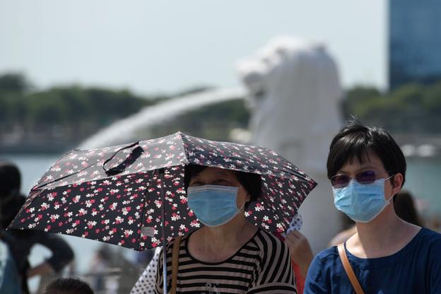 싱가포르의 상징인 '머라이언' 분수 앞을 마스크를 쓴 여성들이 지나고 있다. /트위터 캡처