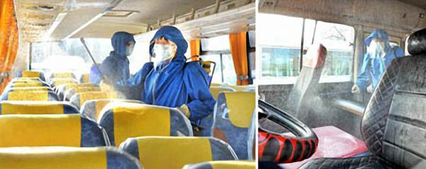 북한 노동당 기관지 노동신문은 27일 우한 코로나(코로나19) 예방을 위해 대중교통 운수수단들에 대한 소독사업을 진행하고 있다면서 서성구역 위생방역소 근로자들의 활동 모습을 사진으로 보도했다. /노동신문