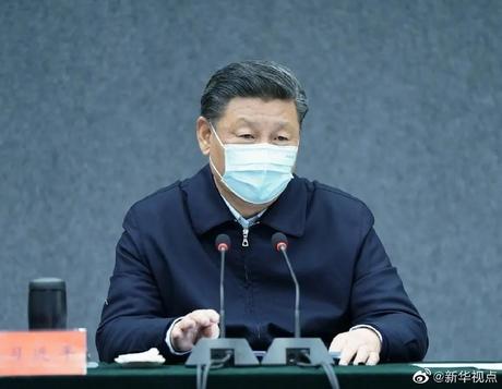 """시진핑 중국 국가주석이 2일 베이징에 있는 신종 코로나바이러스 전염병 연구기관을 방문해 """"바이러스의 근원을 연구하라""""고 지시했다. /중국 신화사"""