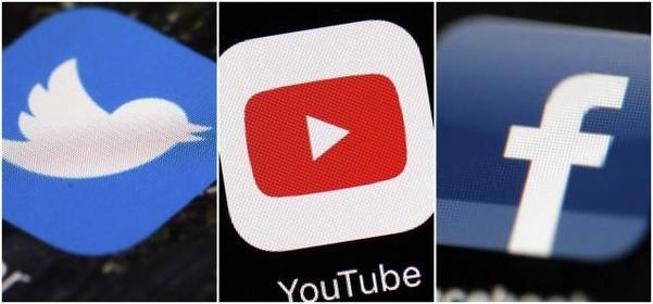 왼쪽부터 트위터, 유튜브, 페이스북. 북대서양조약기구(NATO) 산하 연구원이 지난해 12월 6일 발표한 보고서에 따르면 수만개의 좋아요와 댓글 등을 구입할 수 있음에도 소셜미디어 회사들은 이러한 조작된 활동을 막지 못하고 있다. /AP연합뉴스