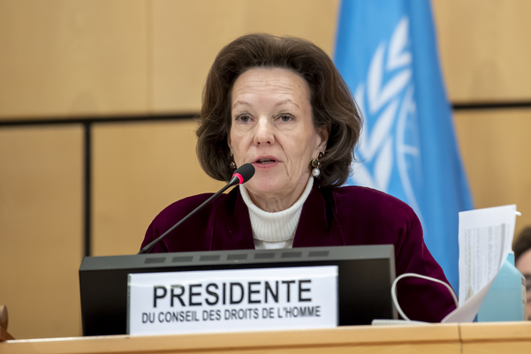 엘리자베스 티치 피슬버거 유엔 인권이사회 의장이 지난달 24일 제네바 유엔 본부에서 연설하고 있다./EPA
