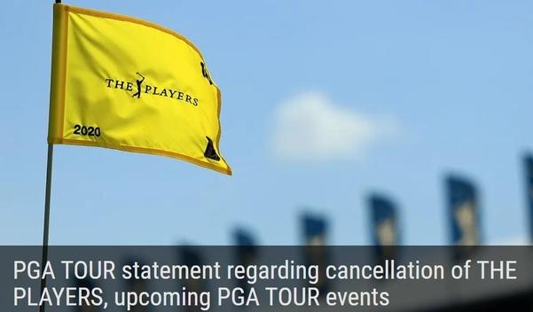 PGA 투어가 코로나19의 영향으로 플레이어스 챔피언십 1라운드 직후 대회를 전격 취소했다./PGA 투어 홈페이지