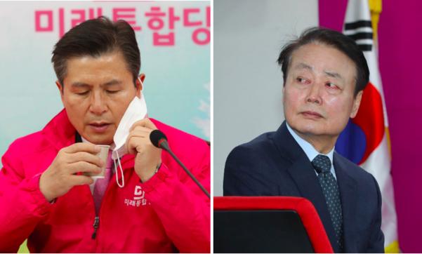 미래통합당 황교안 대표(왼쪽)과 미래한국당 한선교 대표/연합뉴스