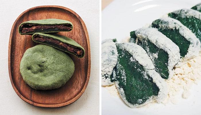 쑥과 쫄깃한 빵이 팥과 조화를 이루는 대구 근대골목단팥빵의 '쑥아빵'(왼쪽). 오른쪽은 찹쌀과 쑥, 천일염, 소량의 설탕만으로 만든 '쑥떡'.