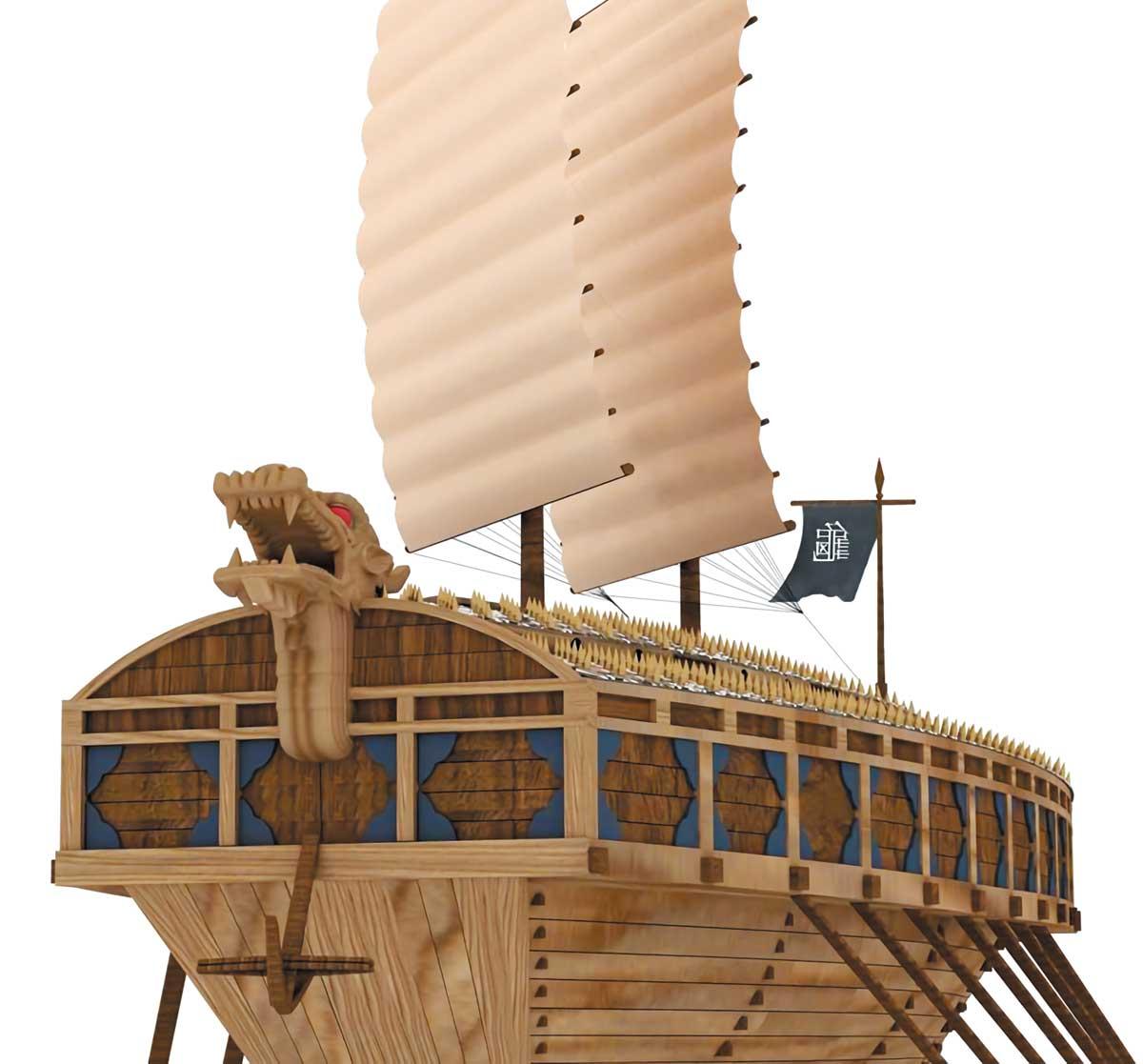 경상남도가 '이순신 프로젝트'의 하나로 제작한 3층 구조의 거북선 모형 측면도.
