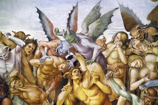 르네상스 시대화가 루카 시뇨렐리가 이탈리아 오르비에토 대성당에 그린 벽화 '세상의 종말'(1504년) 일부.중세에 '최후의 심판'을 주제로 그린 이 프레스코화는 죄지은 자들이 악마에게 받을 여러가지 벌을 나열하고 있다./게티이미지코리아