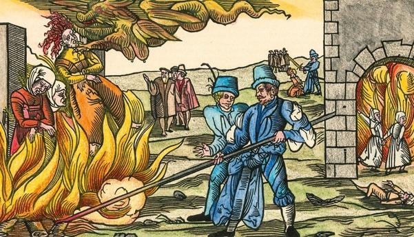 중세의 마녀사냥을 묘사한 그림. 종말론은 악마의 주장을 따른다는 마녀들을 찾아내서 처형하는 근거로도 써먹었다./위키피디아