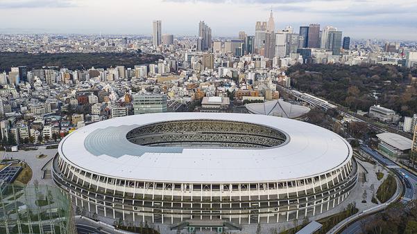 도쿄 올림픽 메인스타디움 인근에서 바라본 도쿄 중심가. / 트위터 캡처