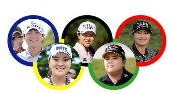 올 여름 도쿄 올림픽이 연기되면서 한국 여자골프 선수들의 태극마크 경쟁도 원점에서 다시 시작하게 됐다. 박성현, 김세영, 이정은, 박인비, 고진영의 모습(왼쪽 위부터 시계방향으로).