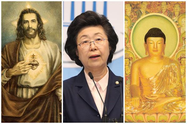 왼쪽부터 예수 그리스도, 이은재 의원, 석가모니/조선일보DB 등
