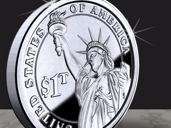인터넷에서 공유되고 있는 가상의 미국 1조달러 동전. /트위터 캡쳐