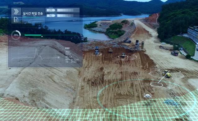 산업용 드론을 이용한 관제 화면. /대우건설 제공