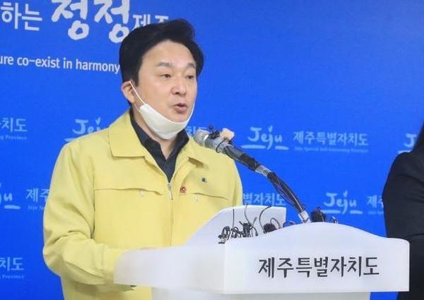 지난 21일 우한 코로나 관련 담화문을 발표하는 원희룡 제주도지사. /연합뉴스