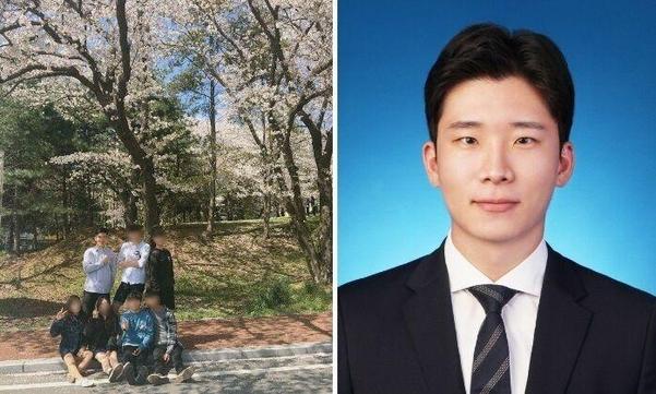 공주대 지리학과 재학 시절홍준혁(뒷줄 왼쪽)씨와 취업 증명사진